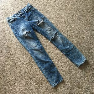 Express High Rise distressed legging jeans